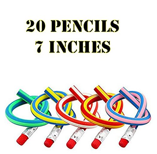 Graders 4th Pencils (Multi Colored Striped Magic Bendy Pencil With Eraser, 7 Inches Long, Soft Novelty Pencil For Kids Students Gift - Great Fun To Play With!! Pack Of 20)