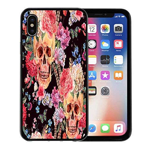 Semtomn Phone Case for Apple iPhone Xs case,Watercolor Skull and Pink Peony Wildflowers Bouquet Butterfly on Black Tattoo in Boho for iPhone X Case,Rubber Border Protective Case,Black]()