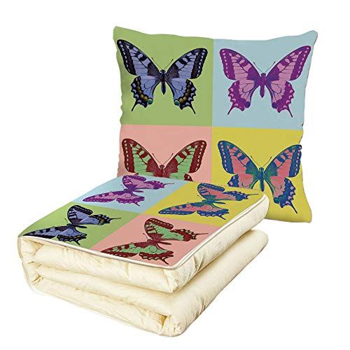- iPrint Quilt Dual-Use Pillow Butterflies Decorations Pop Art Swallowtail Pavilions Wild Life Transcendent Energies of Miraculous Wings Multifunctional Air-Conditioning Quilt Multi