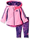 adidas Baby Girls' Zip Jacket and Pant Set, Ultra Pop, 18 Months