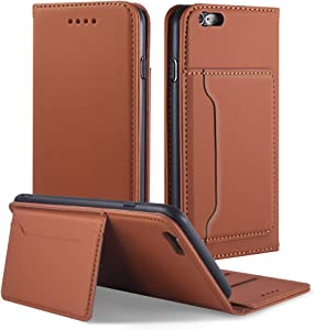 iPhone 6 Case, iPhone 6S Wallet Case Cover, Magnetic Stand Flip Protective Cover Leather Flip Cover Purse with ID & Credit Card Slots Holder Case for Apple iPhone 6 and iPhone 6S (Brown)