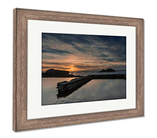 Sutro Cliff House San Francisco - Ashley Framed Prints Sunset Over Sutro Baths San Francisco California USA, Wall Art Home Decoration, Color, 34x40 (frame size), Rustic Barn Wood Frame, AG6531940