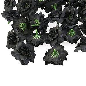 Tinksky 50pcs Silk Rose Flower Heads for Hat Clothes Album Embellishment Decoration (Black) 3