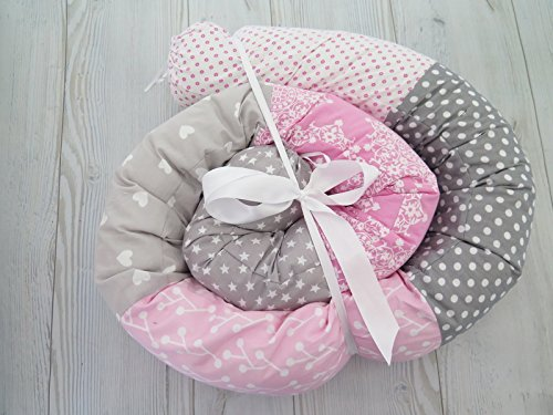 Handmade Pink and Gray cotton Baby Crib Bumper, Long Snake Pillow, Nursery Bedding, Nursery Decor by sweetandcozy