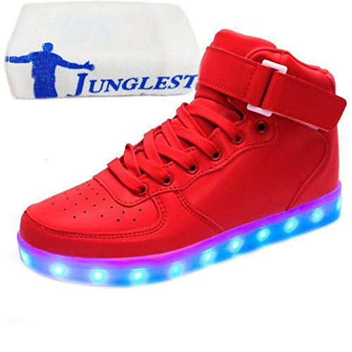 [Presente:pequeña toalla]Negro 42 Mujeres manera Negro Up JUNGLEST Zapatos Blanco LED 8wT5A