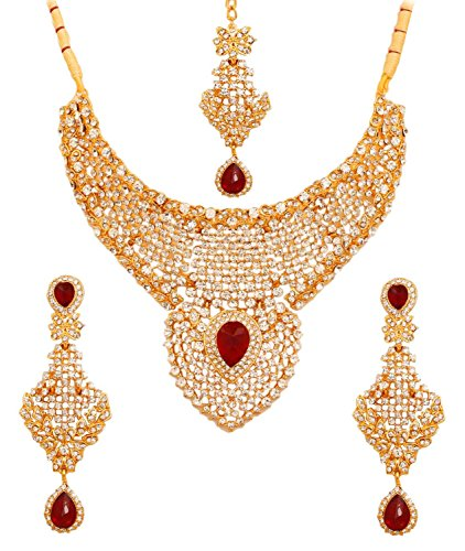 Touchstone Gold Tone Indian Bollywood Faux Ruby Diamante Mesmerizing Bridal Jewelry Necklace for Women