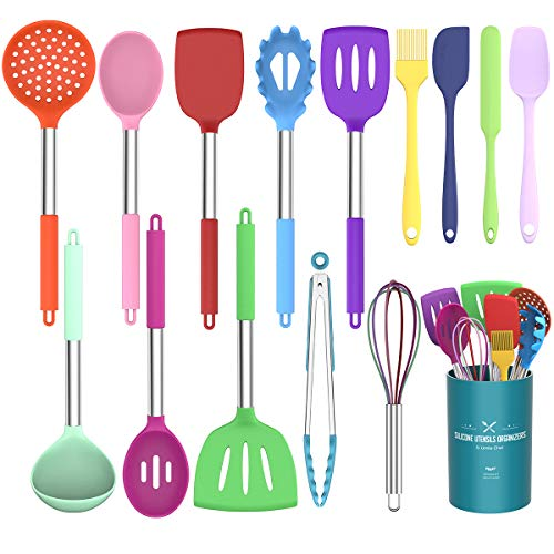 Umite Chef Kitchen Utensils Set, 15 pcs Silicone Cooking Kitchen Utensils Set, Heat Resistant Non-stick BPA-Free Silicone Stainless Steel Handle Turner Spatula Spoon Tongs Whisk Cookware - Colorful