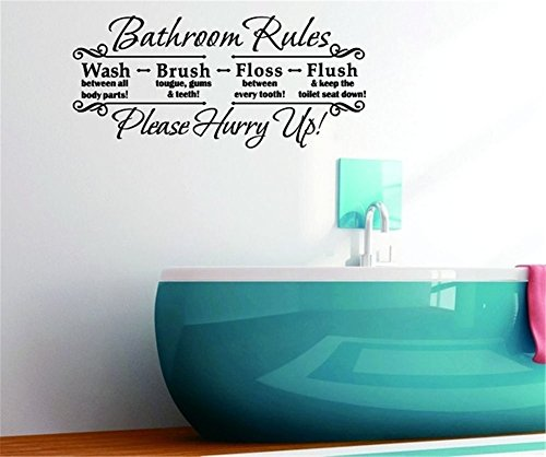 Vinyl Peel and Stick Mural Removable Decals Bathroom Rules wash Brush Floss Flush Please Hurry up -