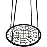 """Smartxchoices 40'' Kids Round Spider Web Tree Swing Set Black Steel Frame Net Spinner Swing with 71"""" Detachable Nylon Rope Swivel for Playround/Outdoor/Indoor/Backyard, Max 600 Lbs (Black)"""