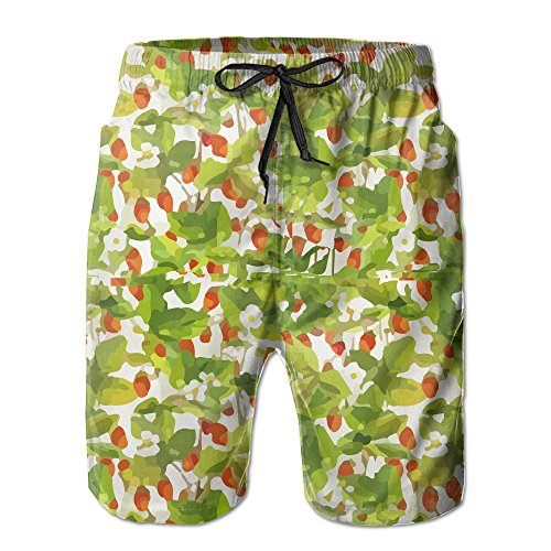 Fruit Pattern With Wild Strawberries With Garden Small Strawberries Men's Beach Shorts With Pockets Quick Dry Beachwear Board (Volcom Garden)
