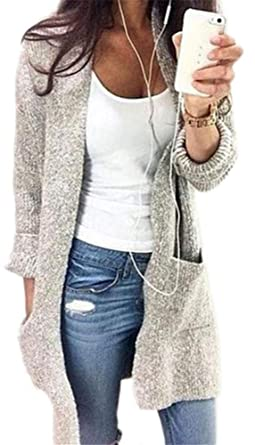 eac7190e3d1 YOGLY Femme Veste Cardigan Femme Long en Maille Manches Longues Pull Gilet  Tricot Chandail Grande Taille