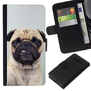 eJoy---La carpeta del tirón la caja de cuero de alta calidad de la PU Caso protector - Samsung Galaxy Core Prime - --Pug Funny Dog Grey Button Ear Puppy