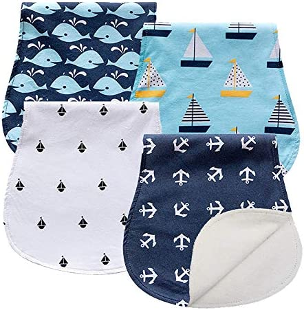 #4 3-Pack Baby Burp Cloths Organic Cotton Double Layer Hiccup Towel Thick Unisex Soft Absorbent Baby Burping Rags for Newborns Baby Boys Girls Shower Gift