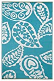 Fab Habitat Paisley Recycled Plastic Rug ,  River Blue & White  , (5' x 8')