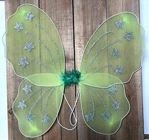 (Green Star Butterfly Wings Dress Up Fairy Girl Birthday Party Halloween Costume)