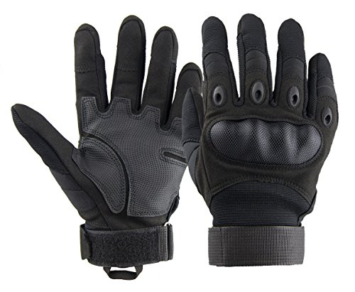 Siowaho Tactical Gloves Military Rubber Hard Knuckle Outdoor Gloves for Men Fit for Cycling Motorcycle Hiking Camping Powersports Airsoft Paintball (Black Fullfinger, M)