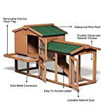 Tangkula Chicken Coop, Wooden Large Outdoor Poultry Cage (Such as Bunny/Rabbit/Hen) with Ventilation Door and Removable Tray & Ramp, 58'' Chicken Rabbit Hutch 17