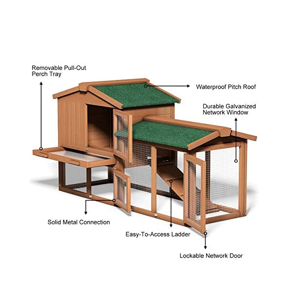 Tangkula Chicken Coop, Wooden Large Outdoor Poultry Cage (Such as Bunny/Rabbit/Hen) with Ventilation Door and Removable Tray & Ramp, 58'' Chicken Rabbit Hutch 7