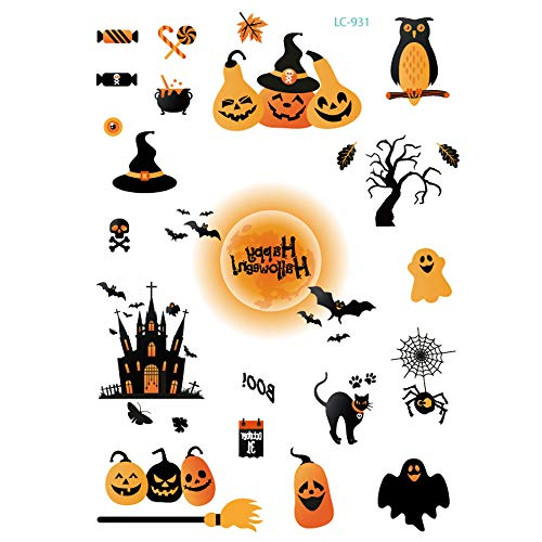 aliveGOT Day of The Dead Sugar Skull Tattoos Kit Halloween Tattoos Makeup Set for Party Costume (A) -