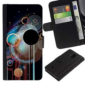 KLONGSHOP // Tirón de la caja Cartera de cuero con ranuras para tarjetas - Círculos Disco - Samsung Galaxy S5 Mini, SM-G800 //