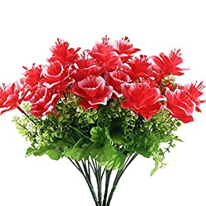 GTIDEA Rose Artificial Silk Flowers Branch Fake Plastic Plants Farmhouse Home Indoor Outdoor Table Vase Centerpiece Bridal Wedding Bouquet Cemetery Decor Pack of 4 (Red) 37