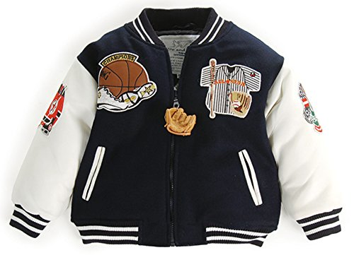 Up and Away Boys' Letterman Jacket 4 Toddler Navy & White