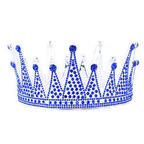 FF Full Round Pageant Crown Rhinestone Queen Crown for Princess - Men's Beauty Pageant Costume