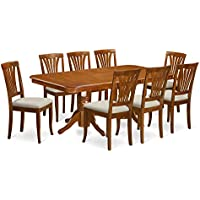 East West Furniture NAAV9-SBR-C 9-Piece Dining Table Set