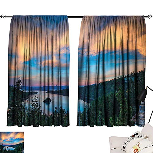 Ediyuneth Turquoise Curtains Lake Tahoe,High Angle View of Californian Freshwater Lake Tranquil Scene Sundown,Forest Green Sky Blue 72