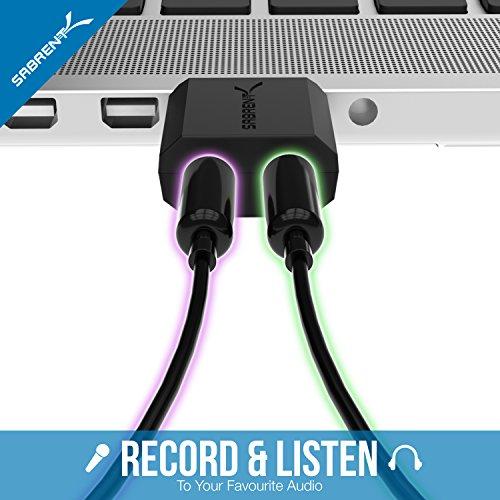 Adaptador de sonido externo estéreo Sabrent USB para Windows y Mac. Plug and play No se necesitan controladores. (AU-MMSA)