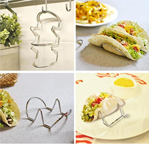 IGEMY Wave Shape Stainless Steel Wire 1 or 2 Taco shell Holder Stand Rack Kitchen Tool (Silver)