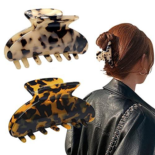 Gifeel Hair Claw Clips for Women, 2PCS Tortoise Shell Hair Clips ,Nonslip Claw Clip,Strong Hold Hair Clips Claw for Thin Hair, Acrylic Hair Banana Barrettes, Celluloid Leopard Print Hair Clips