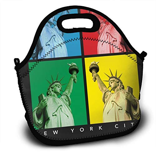 Tidyki Women Men Boys Girls Kids Insulated Neoprene Lunch Bag Tote Handbag Lunchbox Food Container Gourmet Pouch with Zipper for School Work Office Picnic Gym New York Statue of Liberty Picture