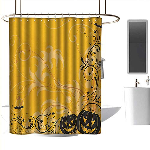 Shower Curtains for Bathroom Brown Halloween,Carved Pumpkins with Floral Patterns Bats and Web Horror Jack o Lantern Artwork,Orange Black,W108 x L72,Shower Curtain for Shower stall