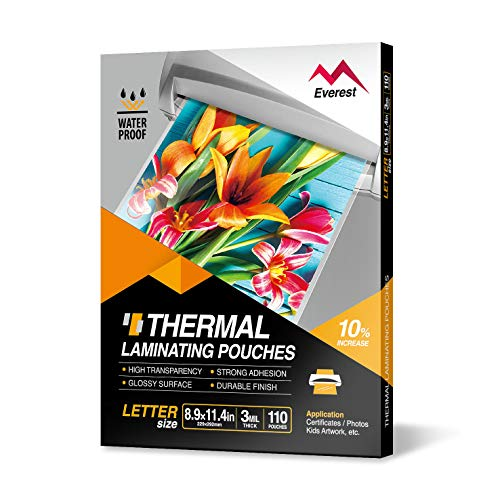 Everest Thermal Laminating Pouches - 8.9 x 11.4 Inches - 3 MIL Thick - 110 Pouches - Letter Size