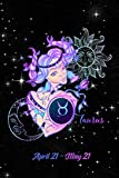 2020 Zodiac Weekly Planner - Taurus April 21 - May 21: Stylized Fashionable Lady on Black Starry Background - 14 Month Horoscope Planner