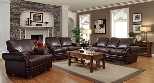 coaster colton traditional brown living room chair with comfortable cushions