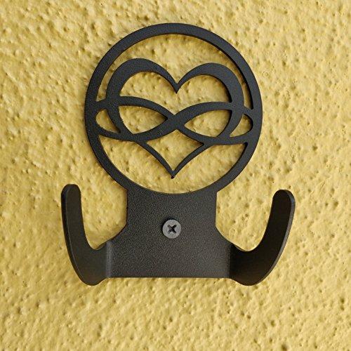 HeavenlyKraft Love Infinity Logo Steel Wall Hook Dual Holder for Living Room Coat Hat Robe Hanger Bathroom Towel Kitchen Strong Heavy Duty Garage Storage Organizer Utensil Hook Single by HeavenlyKraft