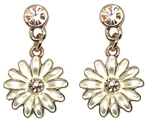 (BellaMira Women's Rose Gold Plated Daisy Flower Crystal Enamel Inlay Necklace Earrings Bracelet (as Chosen) in Unique Retail Gift Box (Earrings))