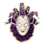Purple Bib Venetian Jester Mask Masquerade Green Hand Painted Joker Wall Decorative Art Collection