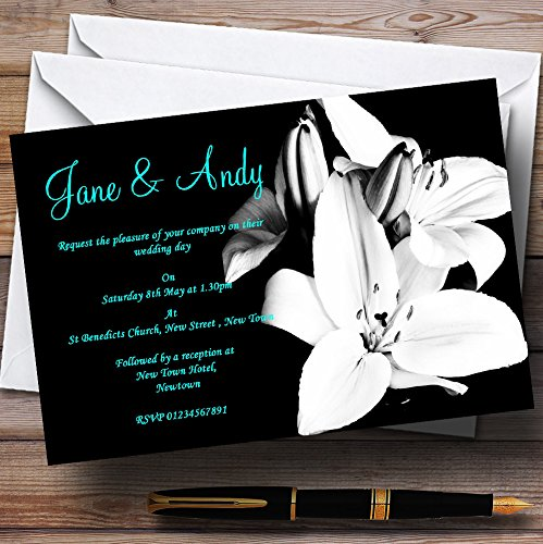 Stunning Lily Black White Turquoise Personalized Wedding Invitations