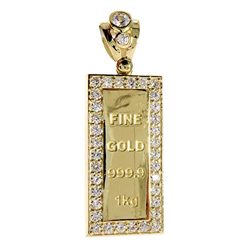 CZ Genuine Stamped Authentic 10K Yellow Gold Charm Pendant Hip Hop Jewelry Gift Present (Mini Gold Bar) by Traxnyc