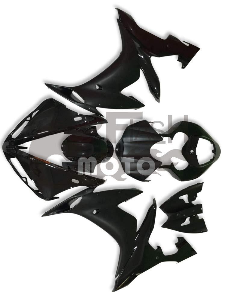 FlashMoto yamaha ヤマハ YZF-1000 R1 2004 2005 2006用フェアリング 塗装済 オートバイ用射出成型ABS樹脂ボディワークのフェアリングキットセット ブラック   B07LF1ZT2T