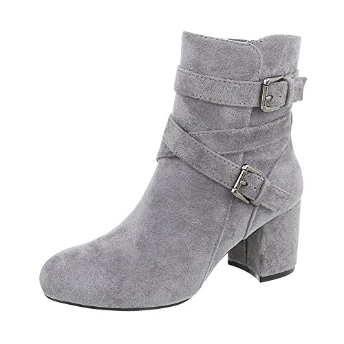 Women's Boots Kitten Heel Classic Ankle Boots at Ital-Design Grey Cl62p 2B9iW9D