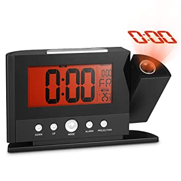 Reloj De Proyección Atómica Con Temperatura - Proyector De Temporizador Digital, Relojes De Visualización LED, Proyección De ...