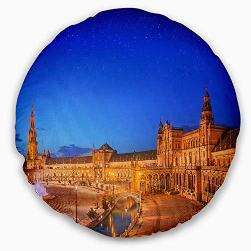 Designart CU15672-20-20-C View of Spain Square at Sunset' Cityscape Throw Cushion Pillow Cover for Living Room, Sofa, 20'' Round, Pillow Insert + Cushion Cover Printed on Both Side by Designart