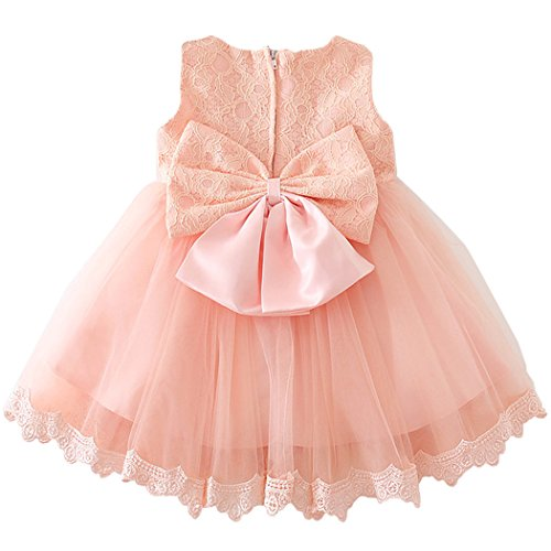 Coozy Baby Girls Dress Infant Princess Christening Baptism Party Birthday Formal Dress (Pink (Style 3), 3M/0-6months) by Coozy (Image #1)