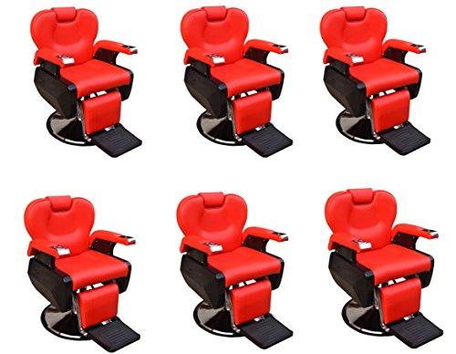 Six All Purpose Hydraulic Recline Barber Chairs Salon Beauty Spa Shampoo 8702 Red