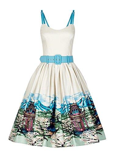 Collectif Scenic Kleid Cremefarben Motiv Damen Jade Vintage mit 6Zq6w