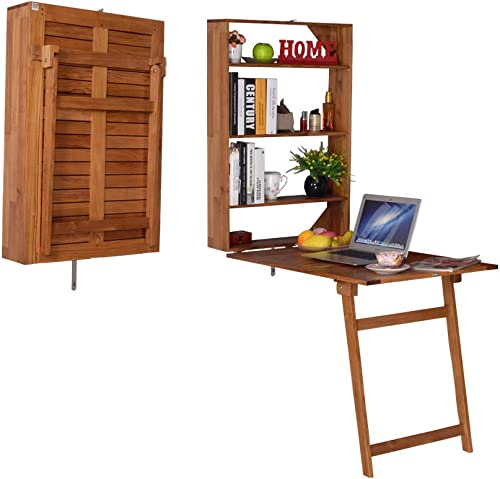 Facilehome Wall-Mounted Teak Wall Desk Wall Mounted Convertible Desk with Storage